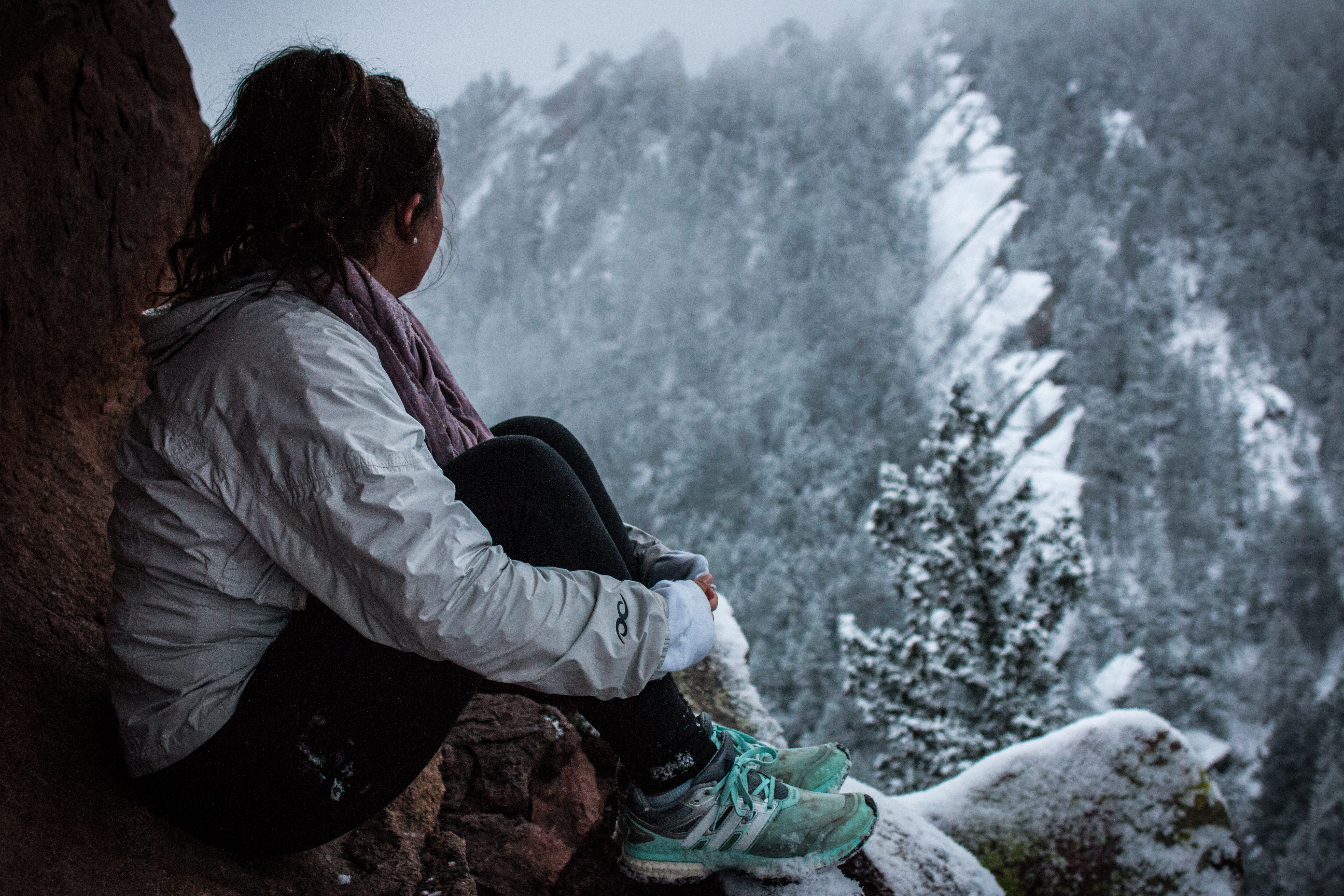 girl looking at mountain